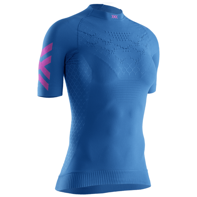 Twyce G2 Rrun Shirt SH SL Women Blue-Neon Flamingo